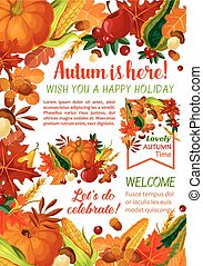 Happy Autumn holiday poster template