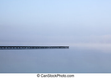 Zen jetty on lake - Jetty on misty Azur lake in Aquitaine...