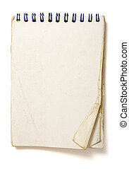 old notebook - old used notebook on white background with...