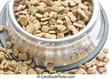 dog food in circle stainless bowl on white background