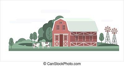 Farm house landscape