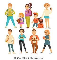 People of various ages with books and bags isolated vector...