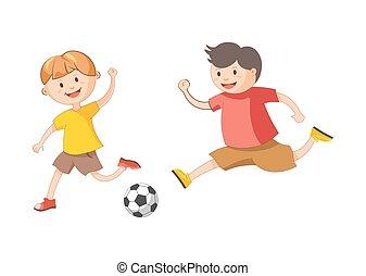 Little cheerful boys plays football isolated cartoon...