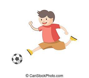 Funny little boy plays football isolated cartoon...