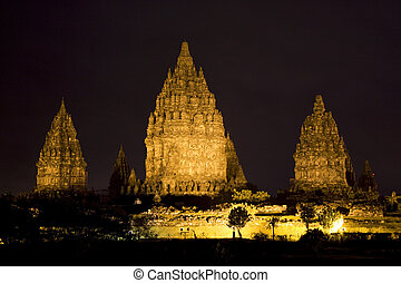 Prambanan Temple at Night, Yogyakarta, Indonesia - Night...