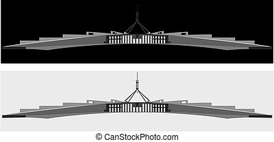 A black and white silhouette of the Australian parliament...