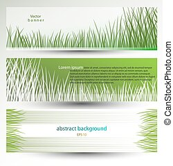 Vector abstract banner, header, background with grass
