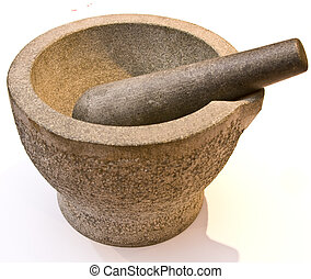Pestle and Mortar - Heavy stone pestle and mortar over a...