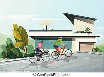 people riding bicycle - high quality vector illustration...