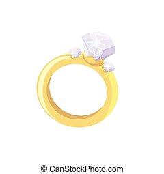 ring with a diamond. Colored vector illustration on white...