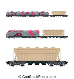 Pink Locomotive with Hopper Car on Platform - Pink...