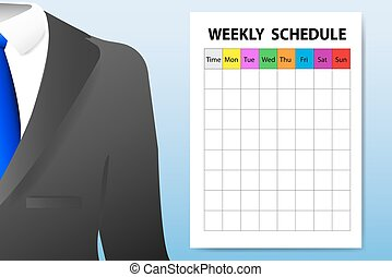 Weekly schedule adult education concept - Concept of men`s...
