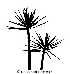 Silhuette Palm on the white background - Tropical plants...