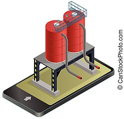 Gasoline cistern, isometric building in mobile phone. Gas...
