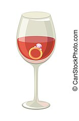 Ring with a diamond in a glass of wine. Colored vector illustration on white