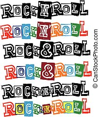 lettering rock and roll - Vector illustration grunge...