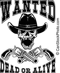 skull revolver wanted dead var 5 - Vector illustration...