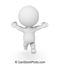 3D Character running towards the screen with his arms...
