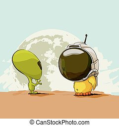Alien and chicken on the background of the earth