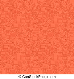 Red Household Seamless Pattern