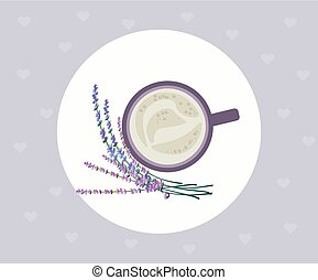 Cup of coffee and lavender top view. Vector illustration