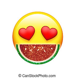 Emoji yellow face red heart eyes and glitter fruit...