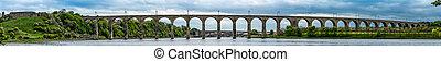 Panorama of The Royal Border Rail Bridge, Berwick upon Tweed...