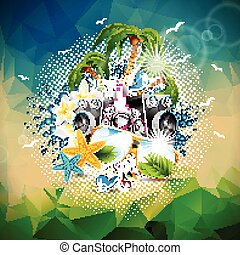 Vector Summer Holiday illustration on a Music and Party theme with speakers and sunglasses on abstract triangle background.