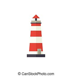 Flat cartoon classic red and white lighthouse