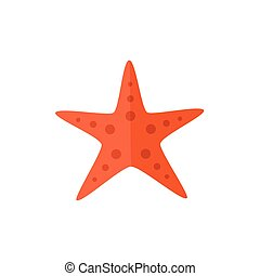 Flat cartoon red textured starfish, star fish - Simple red...