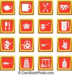 Kitchen tools and utensils icons set red