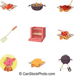 BBQ party icons set, cartoon style