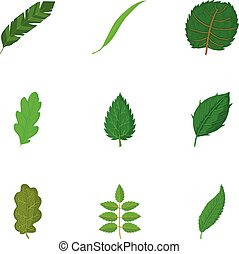 Torn green leaf icons set, cartoon style