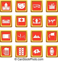 Switzerland icons set red