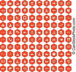 100 sea icons hexagon orange