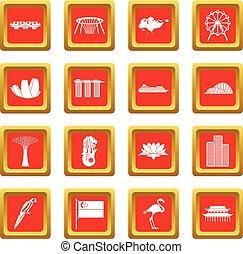 Singapore icons set red