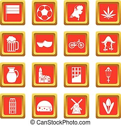 Netherlands icons set red