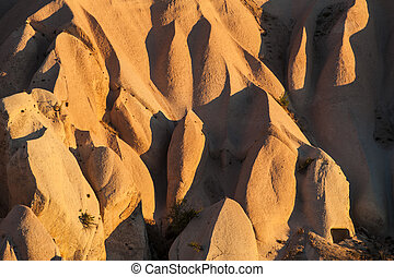Cappadocia - Detailed photo of vivid rock formations shaped...
