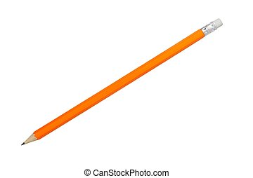 Orange pencil on white