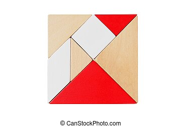 Tangram puzzle on white - Square shape made from tangram...