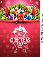 Merry Christmas Happy Holidays illustration with typographic design and gift box on red snowflakes pattern background.