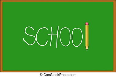 Green blackboard with school written on it with chalk and pencil