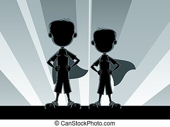 Super Boys Silhouettes - Two little boys posing like...