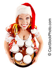 Happy Woman in Santa Hat with Six Glasses of Beer.