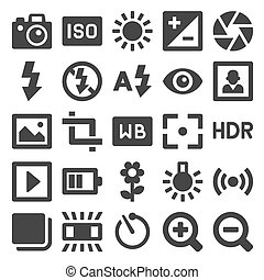 Photography Icons Set on White Background. Vector...