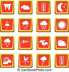 Weather icons set red