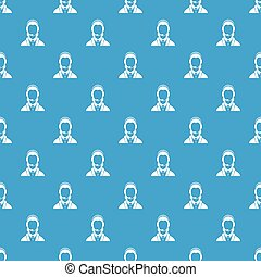 Support phone operator in headset pattern seamless blue -...