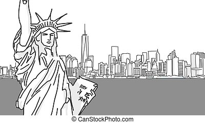 Lady Liberty Vector Drawing and New York City Skyline