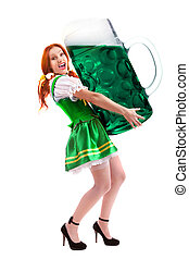 Happy Woman in Traditional Costume  Holding  a Giant Beer Glass on White Space for Advertising