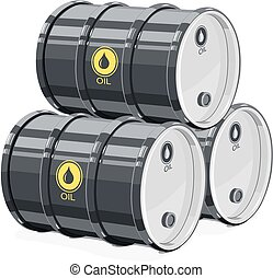 Three Black metal barrel for oil. Equipment transportation...